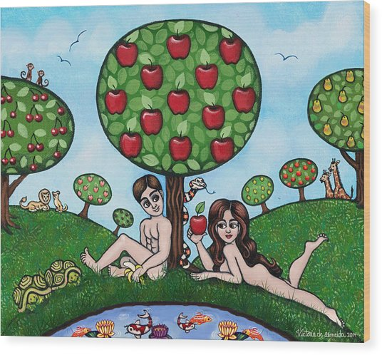 Adam And Eve The Naked Truth Wood Print