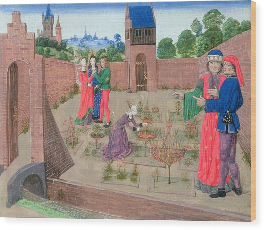 Add 19720 Fol.214 Walled Garden With A Woman Gardening And Others Gossiping, From Livre Des Wood Print