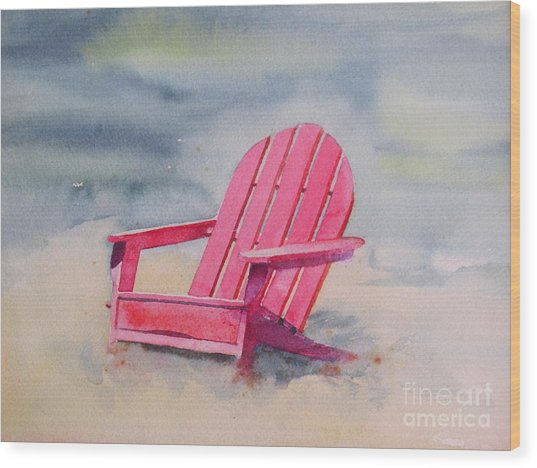 Adirondack At The Beach Wood Print