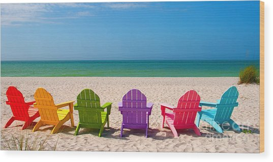 Adirondack Beach Chairs For A Summer Vacation In The Shell Sand  Wood Print