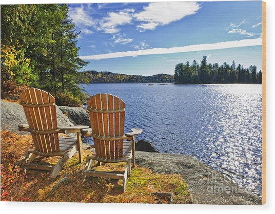 Adirondack Chairs At Lake Shore Wood Print