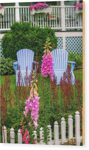 Adirondack Garden Wood Print
