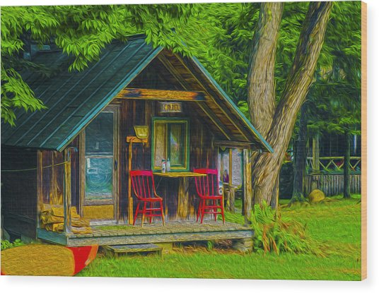 Adirondack Retreat Wood Print