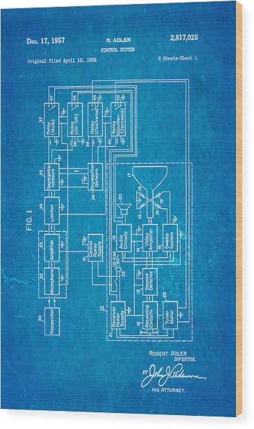 Adler tv remote control patent art 1957 blueprint photograph by adler tv remote control patent art 1957 blueprint wood print by ian monk malvernweather Image collections