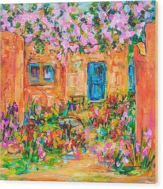 Adobe With Pink Flowers Wood Print