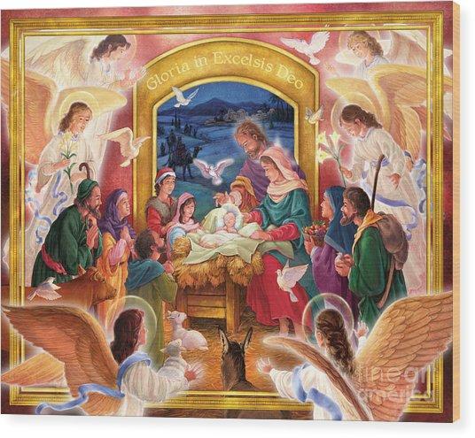 Adoring Angels Nativity Wood Print