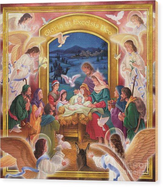Adoring Angels Nativity Square Wood Print