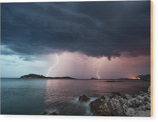 Adriatic Lightning Wood Print by Image By Chris Winsor
