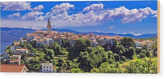 Adriatic Town Of Vrbnik Panoramic View Wood Print