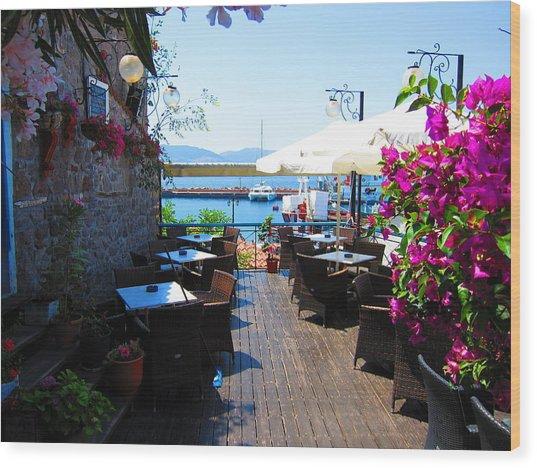 Aegean Cafe Wood Print