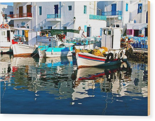 Aegean Harbor  Wood Print