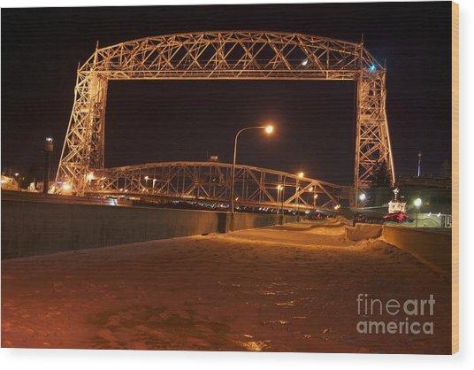 Aerial Lift Bridge Wood Print by Kevin Jack