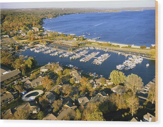 Aerial Of The Abbey Harbor - Fontana Wisconsin Wood Print
