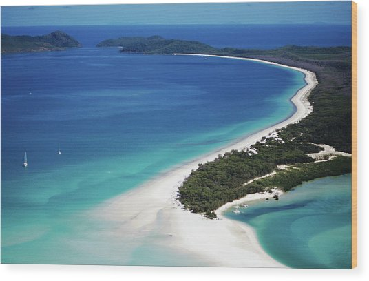 Aerial Of Whitehaven Beach Wood Print