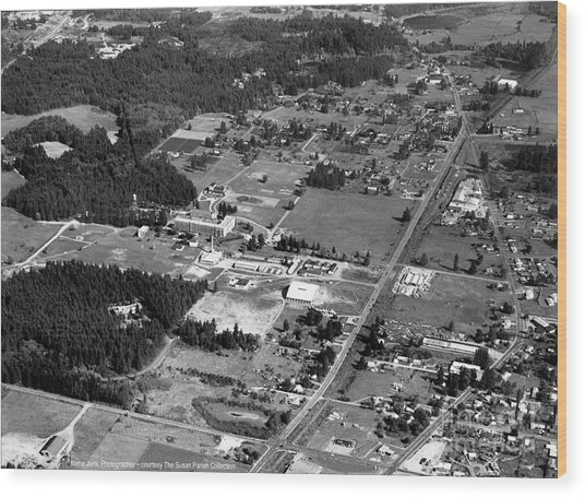 Aerial Over City Of Lacey #2 Wood Print