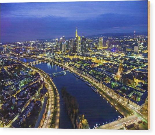 Aerial View. Germany, Frankfurt, River Wood Print by Malorny