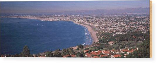 Aerial View Of A City At Coast, Santa Wood Print