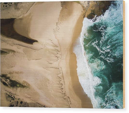 Aerial View Of Beach And Sea Wood Print by Aolin Li / Eyeem