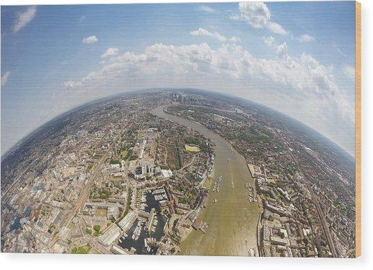 Aerial View Of City, London, England, Uk Wood Print by Mattscutt