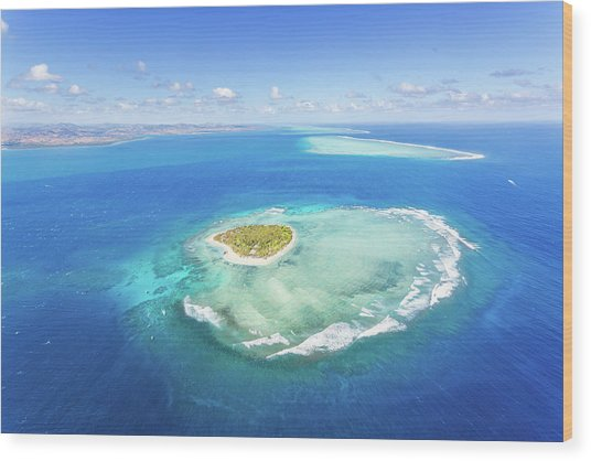 Aerial View Of Heart Shaped Island Wood Print by Matteo Colombo
