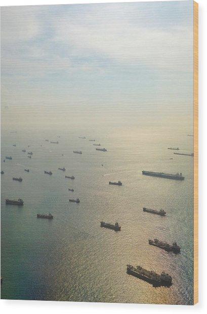 Aerial View Of Industrial Ships Wood Print by Rachel Abygail / Eyeem