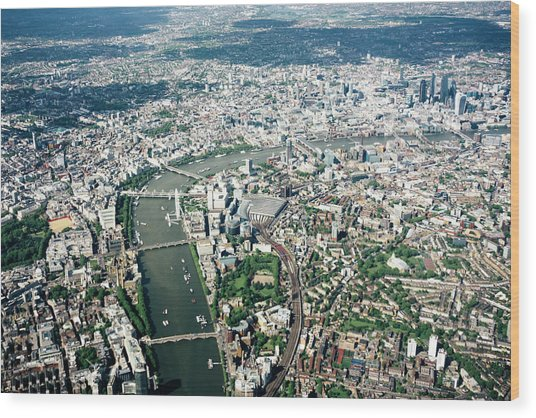 Aerial View Of London, River Thames Wood Print by Urbancow