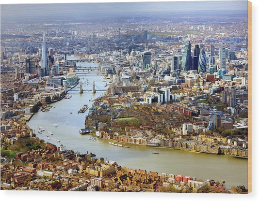 Aerial View Of  London Wood Print by Vladimir Zakharov