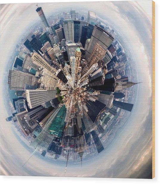 Aerial View Of Modern City Wood Print by John Mcintosh / Eyeem