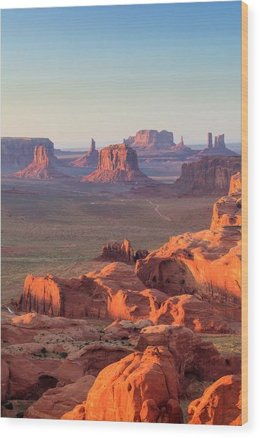 Aerial View Of Monument Valley Wood Print