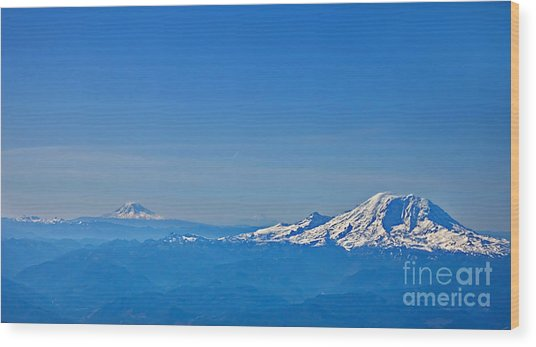Aerial View Of Mount Rainier Volcano Art Prints Wood Print
