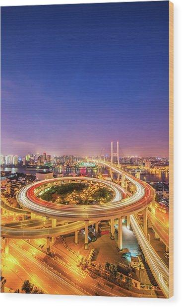 Aerial View Of Nanpu Bridge Wood Print by Fei Yang