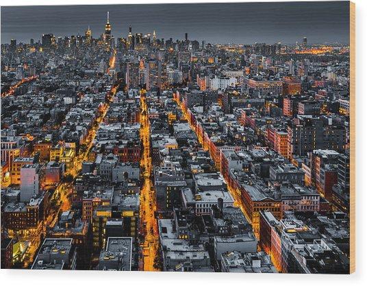 Aerial View Of New York City At Night Wood Print