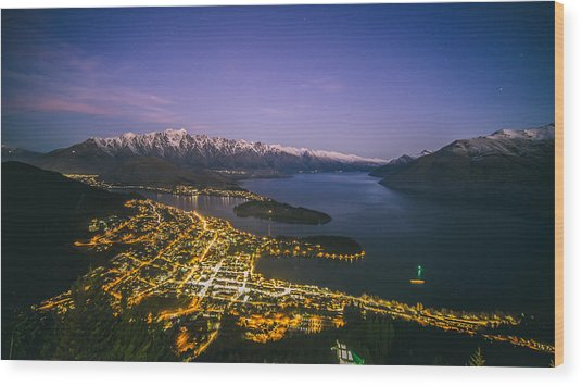 Aerial View Of Queenstown Cityscape At Night, New Zealand Wood Print by Lingxiao Xie