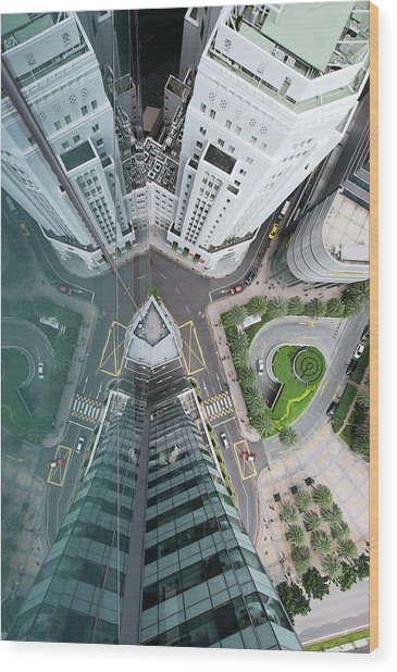 Aerial View Of Singaores Financial Wood Print by Andrew Tb Tan