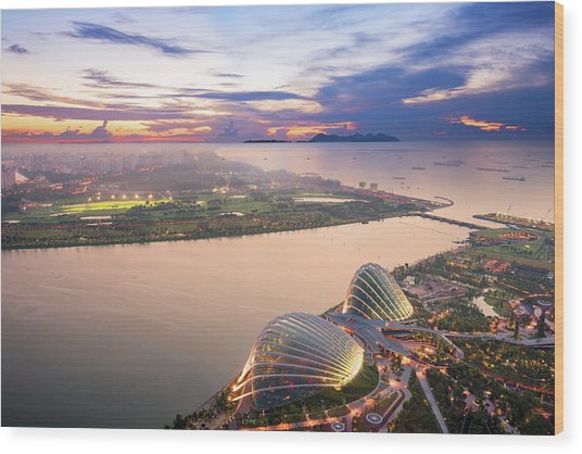 Aerial View Of Singapore With Sunset Wood Print by Loveguli