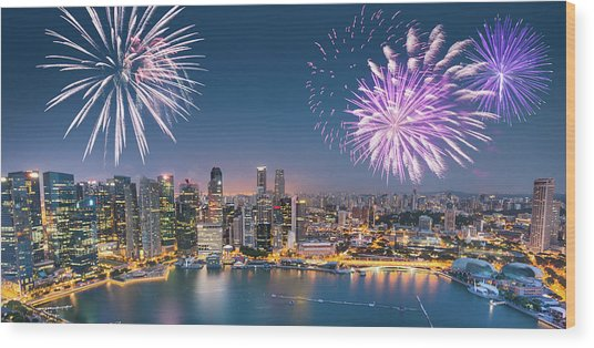 Aerial View Of The Singapore Skyline Wood Print by Franckreporter