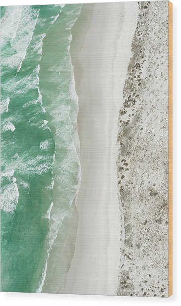 Aerial View Of The Sixteen Mile Beach Wood Print by Peter Chadwick