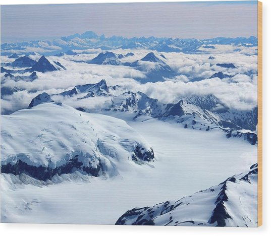 Aerial View Of The Southern Alps Of New Wood Print by Thierrylevenq