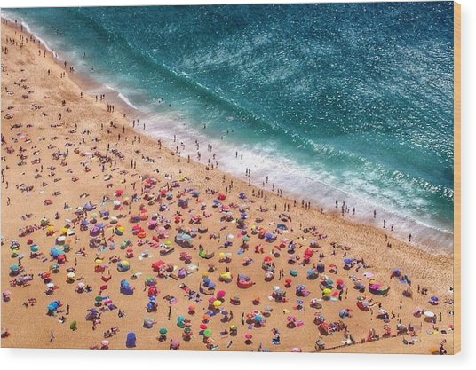 Aerial View Of Tourists On Beach Wood Print by Dario Cingolani / Eyeem