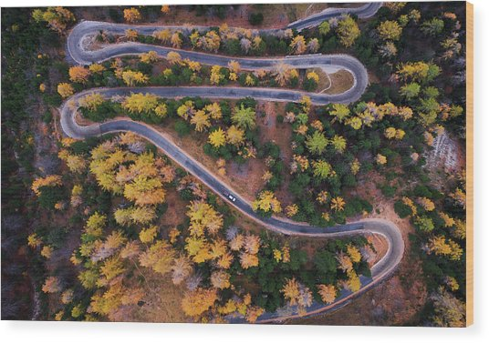 Aerial View Of Vrsic Mountain Pass Wood Print
