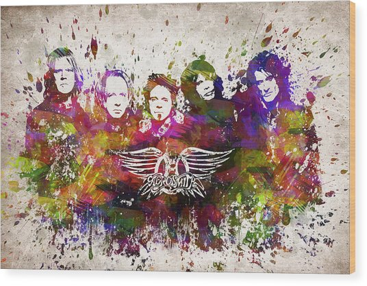 Aerosmith In Color Wood Print