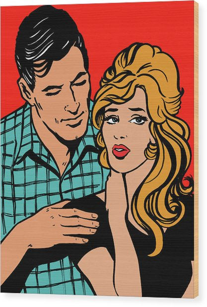 Affectionate Boyfriend Comforting Wood Print by Jacquie Boyd