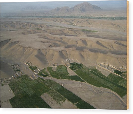 Afghan Village From The Air In Helmand Province Wood Print