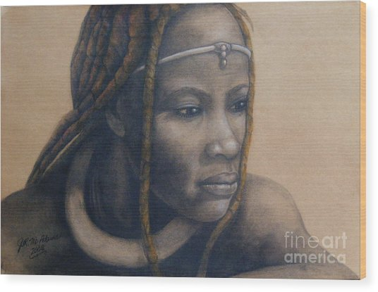 Afican Woman Wood Print