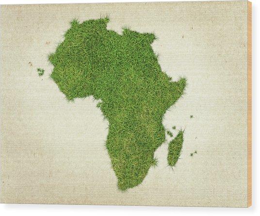 Africa Grass Map Wood Print