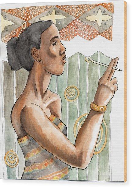 Africa Nouveau Wood Print