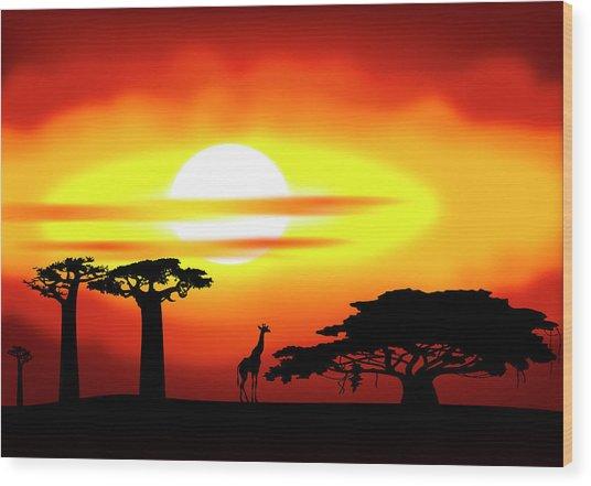Africa Sunset Wood Print