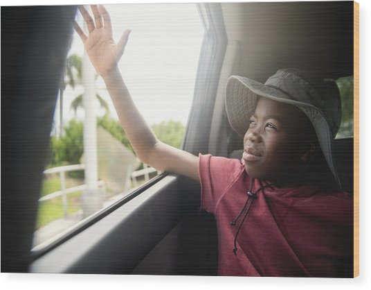 African-american Boy On The Back Seat Of A Car. Wood Print by Martinedoucet