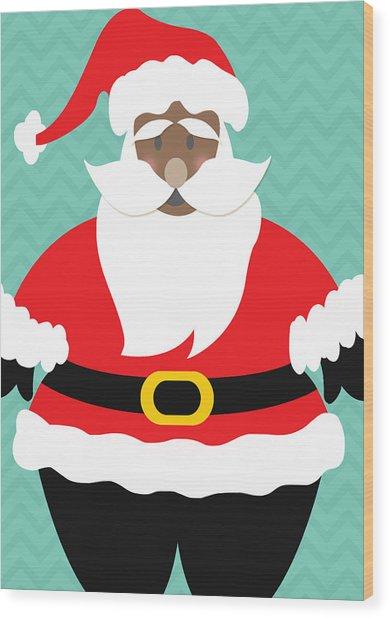 African American Santa Claus Wood Print