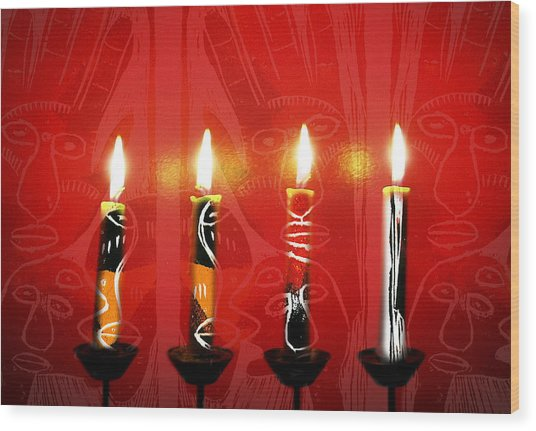 African Candles Wood Print
